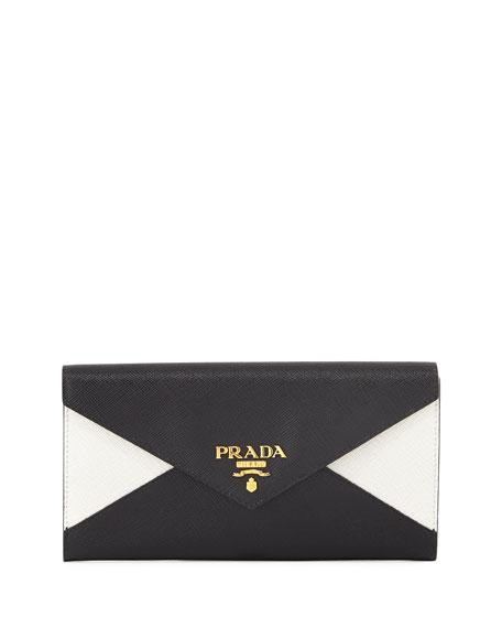 10a49ff22e4386 Prada Saffiano Bicolor Letter Wallet, Black/White