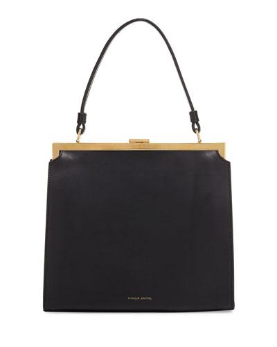 Elegant Leather Top-Handle Bag, Black/Canvas