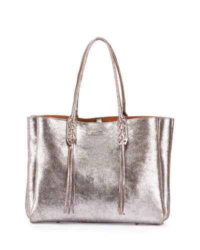 Metallic Crinkled Leather Tote Bag, Silver