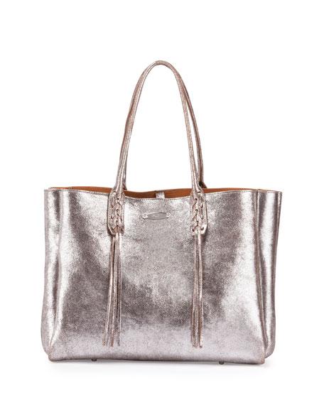 Lanvin Metallic Crinkled Leather Tote Bag
