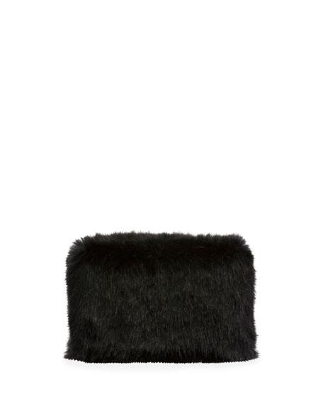 Faux-Fur Chain Clutch Bag, Black