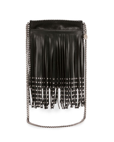 Studded Fringe Crossbody Bag, Black