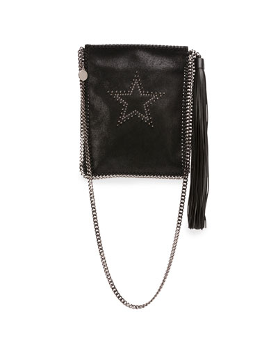 Star-Studded Faux-Leather Crossbody Bag, Black