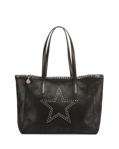 Star-Studded Faux-Leather Tote Bag, Black