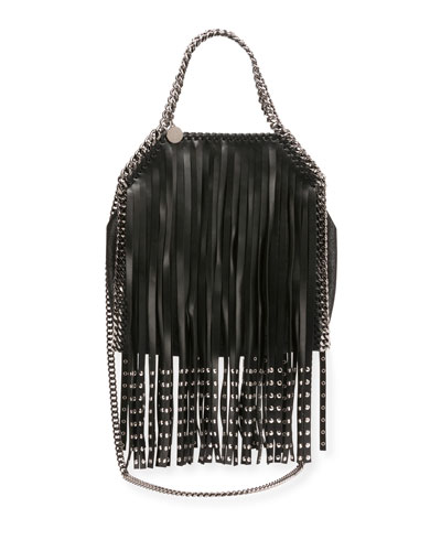 Falabella Fringe Faux-Leather Mini Tote Bag, Black