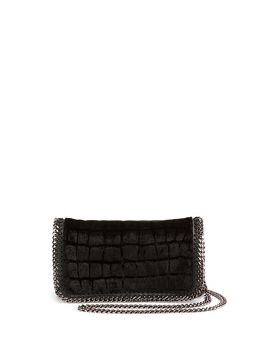 Tiny Bella Embossed Velvet Crossbody Bag, Black