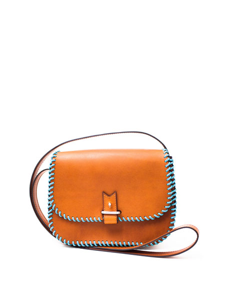 Rohan Small Whipstitched Crossbody Bag, Camel/Blue