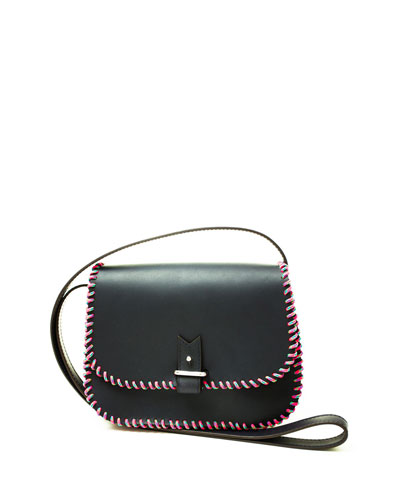 Rohan Small Whipstitched Crossbody Bag, Navy/Pink