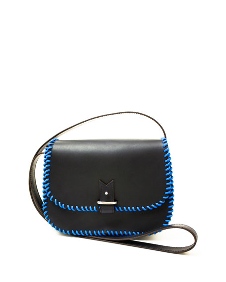 Rohan Small Whipstitched Crossbody Bag, Navy/Cobalt