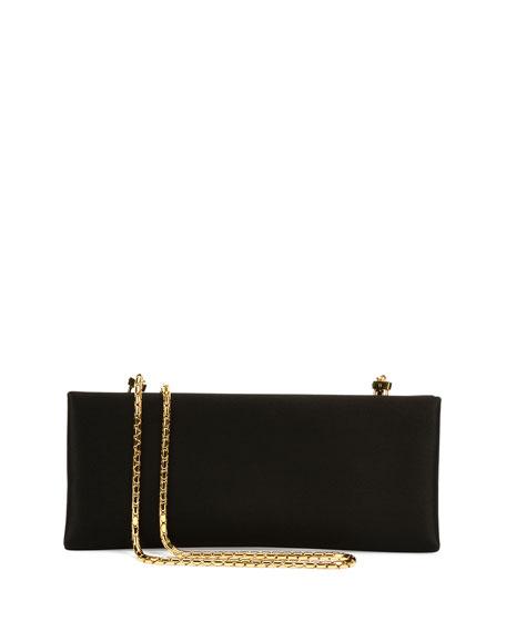 Satin Chain Clutch Bag, Black