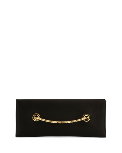 Satin Chain Clutch Bag, Black