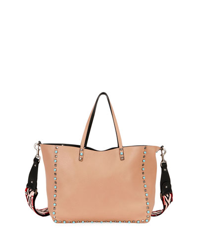 Rolling Rockstud Reversible Leather Tote Bag, Beige/Black