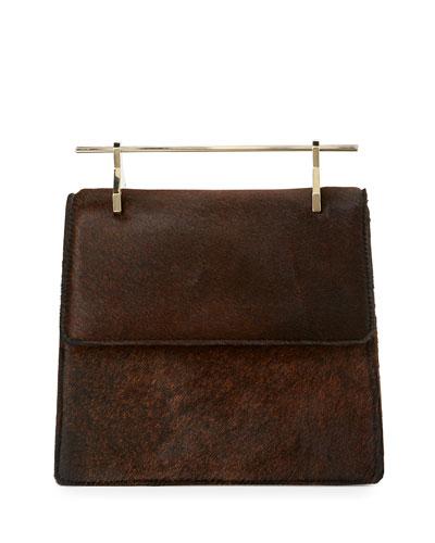 La Collectionneuse Calf Hair Satchel Bag, Chocolate