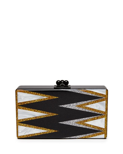 Jean Twist Acrylic Clutch Bag, Black Pattern