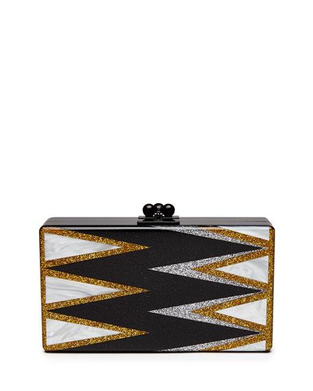 Jean Twist Acrylic Clutch Bag, Black Pattern