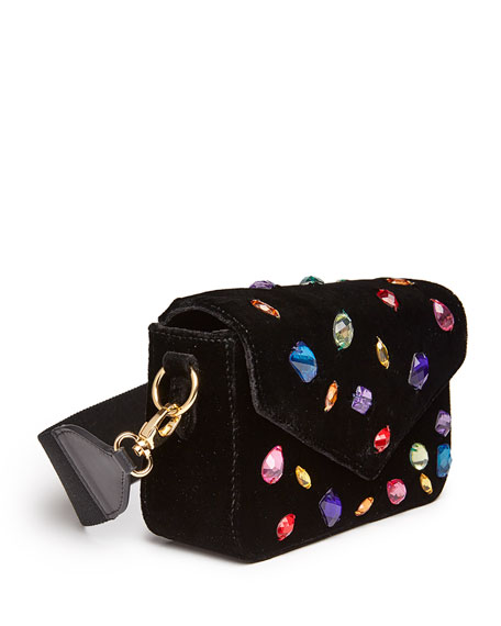 Melissa Crushed Velvet Jewel Shoulder Bag, Black Multi
