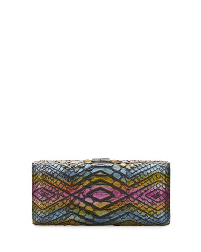 Rectangle Compact 21 Python Clutch Bag, Multi