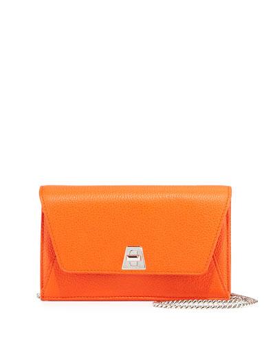 Anouk Leather Clutch Bag w/Chain, Zinnia