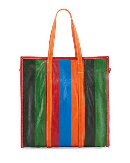 Bazar Shopper Medium Striped Leather Shopper Tote Bag, Multi
