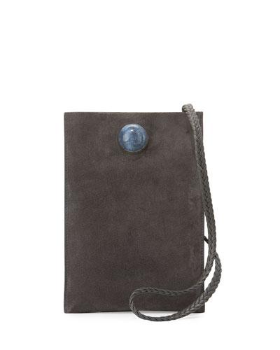 Small Suede Medicine Pouch Bag, Gray