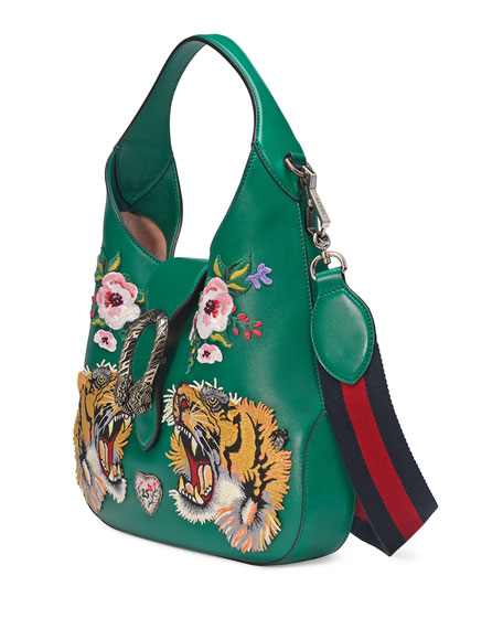 Gucci Dionysus Small Embroidered-Tigers Hobo Bag, Green