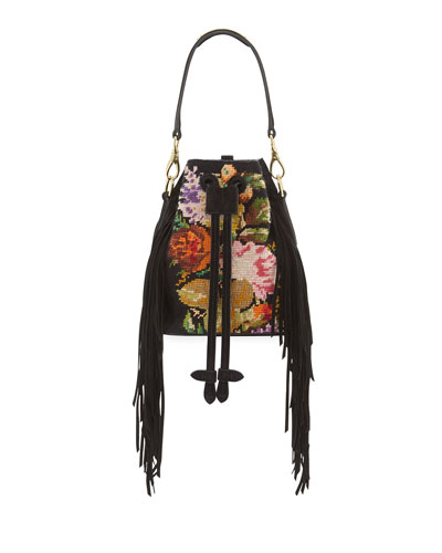 Embroidered Fringe-Trim Bucket Bag, Black