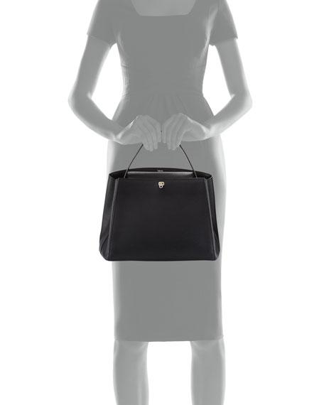 Triennale Large Leather Top-Handle Bag, Black