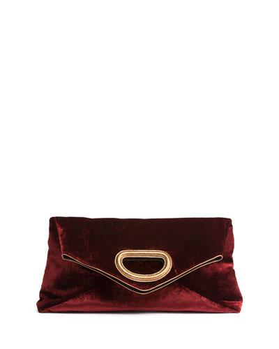 Convertible Velvet Top Handle/Clutch Bag, Burgundy