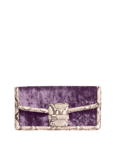 Velvet Clutch Bag w/Snake-Embossed Trim, Purple
