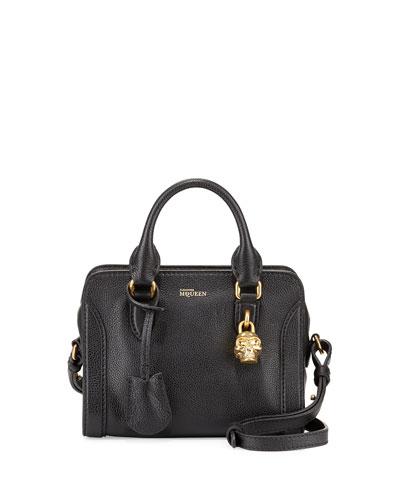 Mini Skull Padlock Satchel Bag, Black