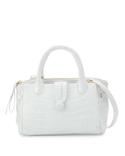Mini Christina Crocodile Tote Bag, White