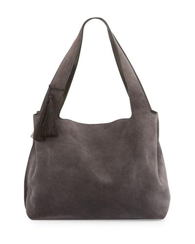 Duplex Suede Satchel Bag, Pewter