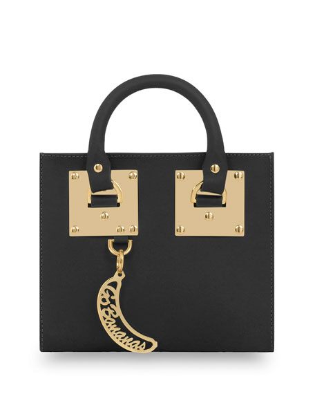 Leather Box Tote Bag, Black