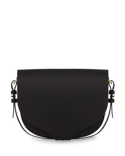 Medium Leather Saddle Bag, Black
