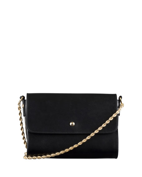 A.P.C. Erwin Chain Leather Shoulder Bag, Black
