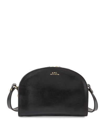Half-Moon Leather Crossbody Bag, Black