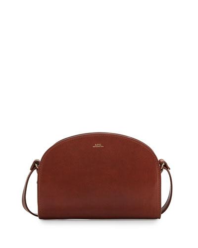Half-Moon Leather Crossbody Bag, Noisette