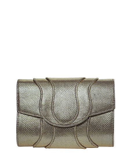 Khirma Jolie Snakeskin Clutch Bag, Gold