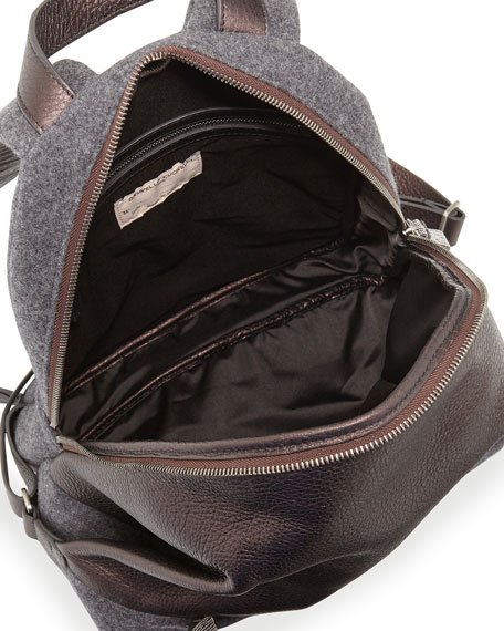 Metallic Leather Backpack with Flannel Trim, Viola