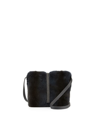Mini Monili-Beaded Mink Fur Bucket Bag, Navy
