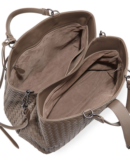Milano Woven Leather Tote Bag, Espresso