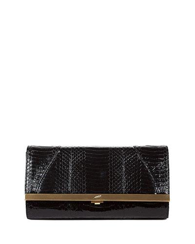 Katerine Python Clutch Bag, Black
