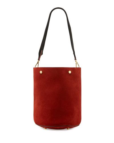 Suede Bucket Bag, Red
