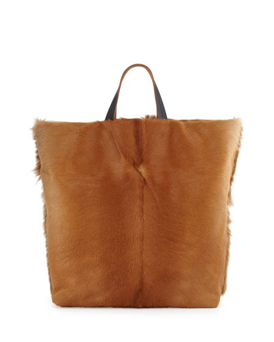 Calf Hair Fur Tote Bag, Light Camel