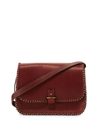 Rohan Medium Whipstitched Crossbody Bag, Burgundy/Multi
