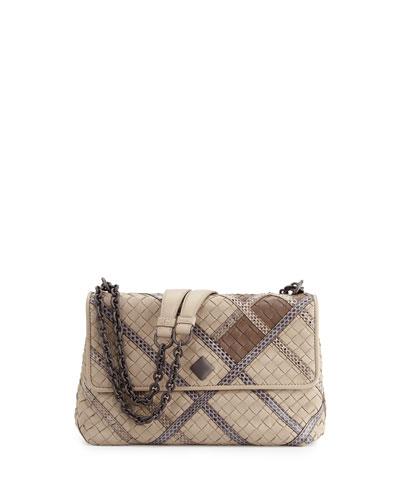 Olimpia Intrecciato Snakeskin & Leather Shoulder Bag, Gray