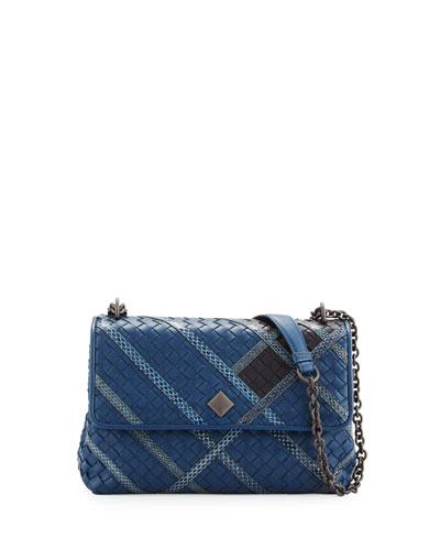 Olimpia Intrecciato Snakeskin & Leather Shoulder Bag, Navy