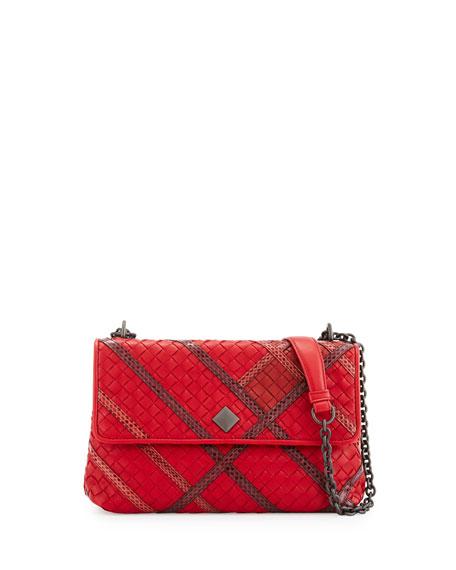 Olimpia Intrecciato Snakeskin & Leather Shoulder Bag, Red