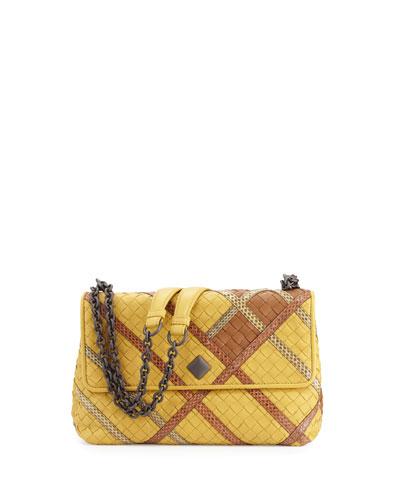 Olimpia Intrecciato Snakeskin & Leather Shoulder Bag, Yellow