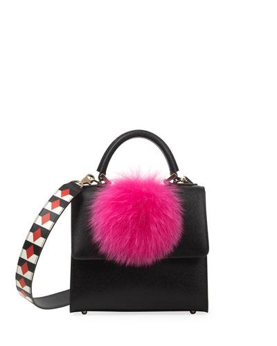 Mini Alex Bunny Frame Bag, Black/Pink